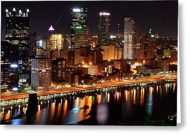 4th July Photographs Greeting Cards - Pittsburgh Panorama Greeting Card by Frozen in Time Fine Art Photography