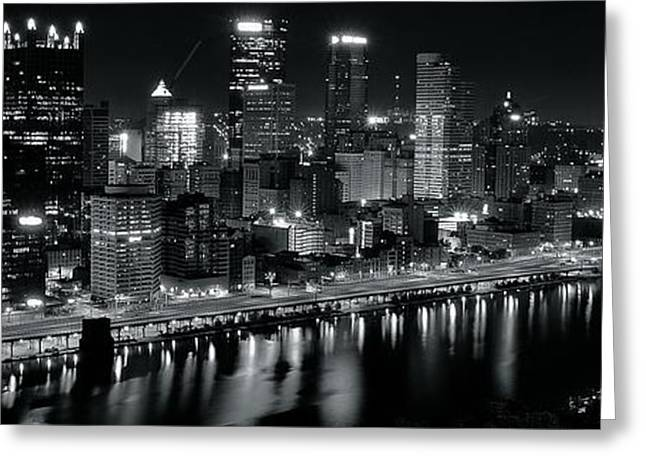Clemente Greeting Cards - Pittsburgh Panorama in Black and White Greeting Card by Frozen in Time Fine Art Photography