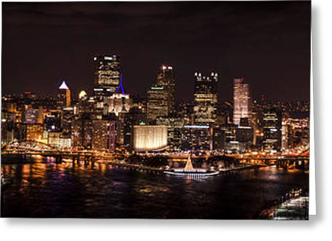 Allegheny Greeting Cards - Pittsburgh Panorama Greeting Card by Paul Scolieri