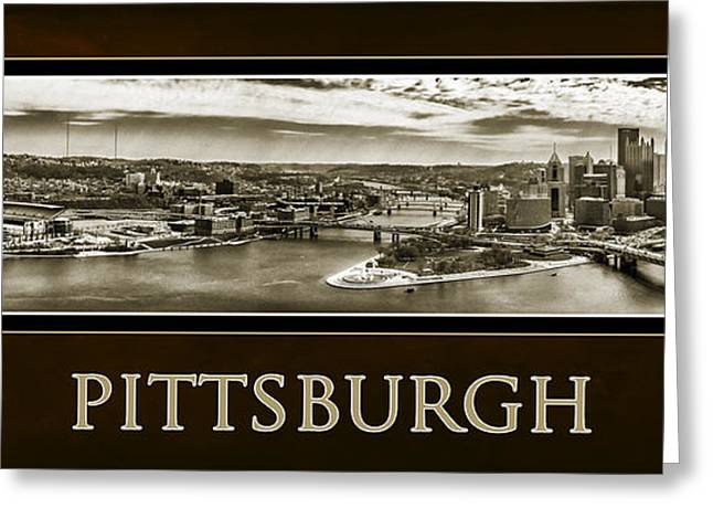 Incline Digital Greeting Cards - Pittsburgh Panorama Poster in Sepia Greeting Card by Gary Cain