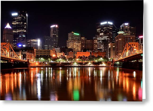 Allegheny Greeting Cards - Pittsburgh Panorama Greeting Card by Frozen in Time Fine Art Photography