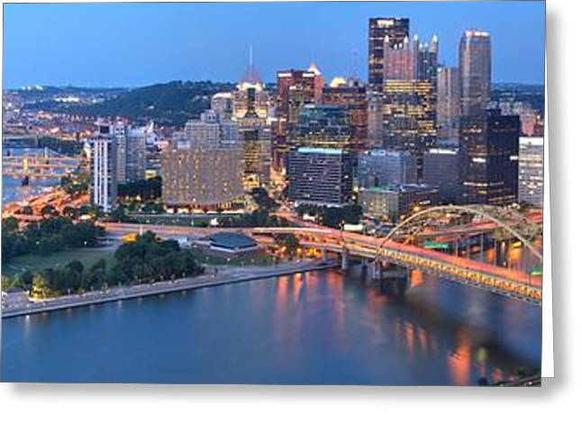 Pittsburgh Panoramic Glow Greeting Card by Adam Jewell