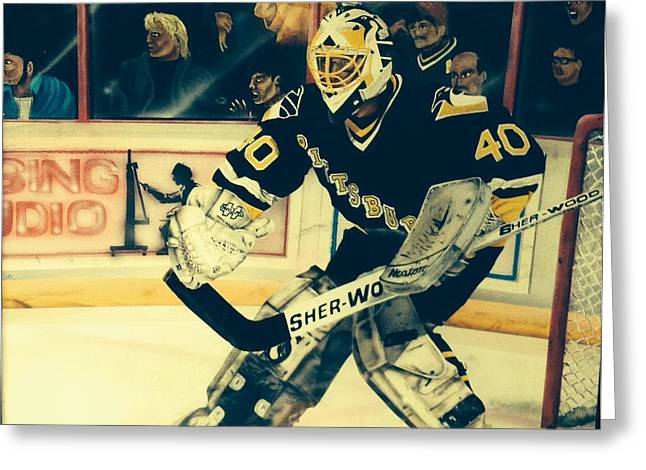 Mark Mellon Greeting Cards - Pittsburgh Penguins  Greeting Card by Gary Reising