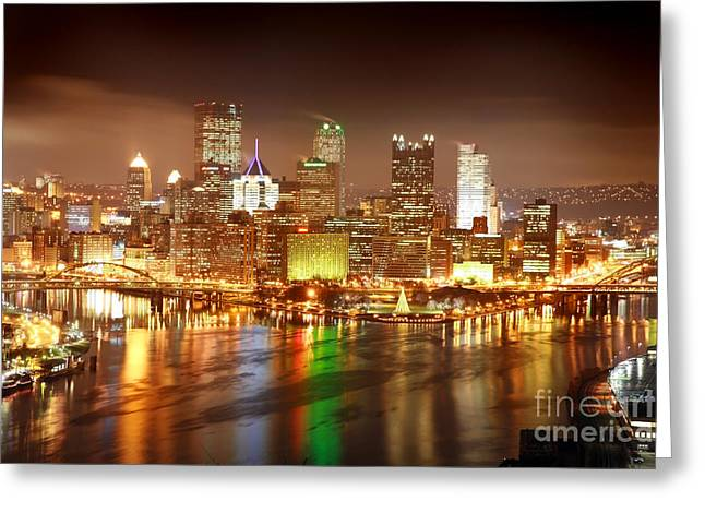 Pittsburgh Pennsylvania At Night Greeting Card by Sharon Dominick