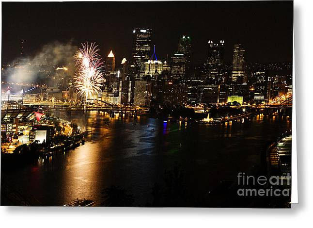 Pirates Greeting Cards - Pittsburgh Pennsylvania at Night with Fireworks Greeting Card by Jan Tyler