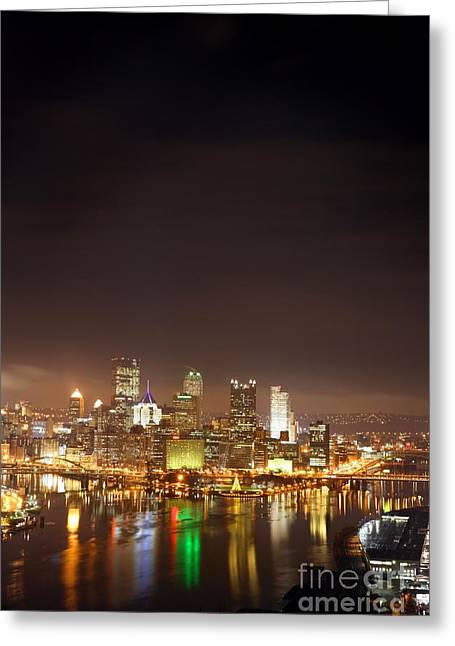 Pittsburgh Pennsylvania Night Portrait Greeting Card by Sharon Dominick
