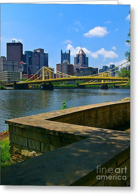 Building Pyrography Greeting Cards - Pittsburgh Pennsylvania Skyline and Bridges as seen from the North Shore Greeting Card by Amy Cicconi