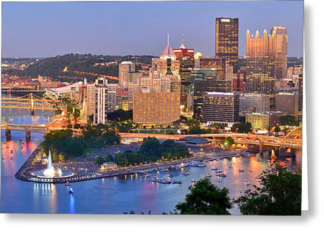 Pittsburgh Greeting Cards - Pittsburgh Pennsylvania Skyline at Dusk Sunset Panorama Greeting Card by Jon Holiday