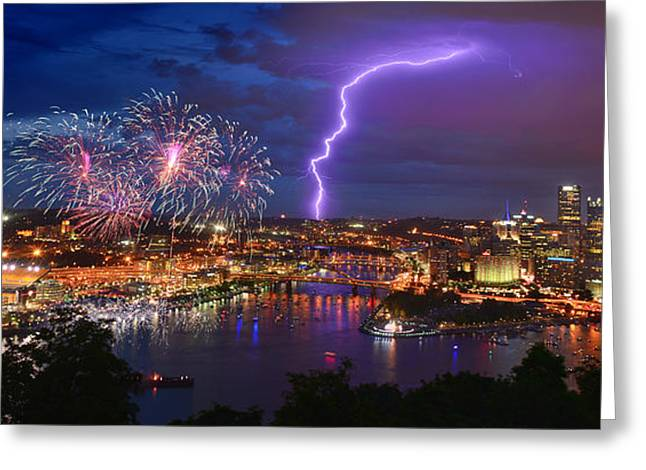 Pittsburgh Skyline.fireworks Greeting Cards - Pittsburgh Pennsylvania Skyline Fireworks at Night Panorama Greeting Card by Jon Holiday