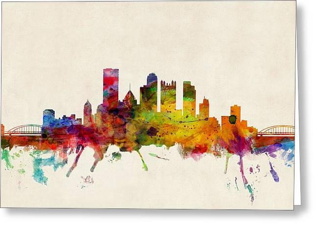 Urban Watercolour Greeting Cards - Pittsburgh Pennsylvania Skyline Greeting Card by Michael Tompsett