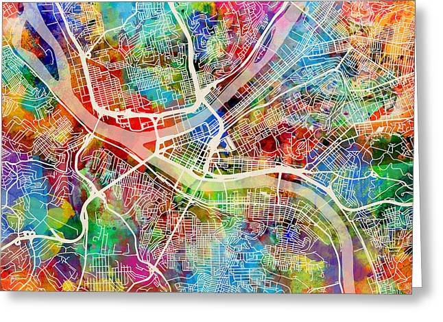Streets Digital Greeting Cards - Pittsburgh Pennsylvania Street Map Greeting Card by Michael Tompsett