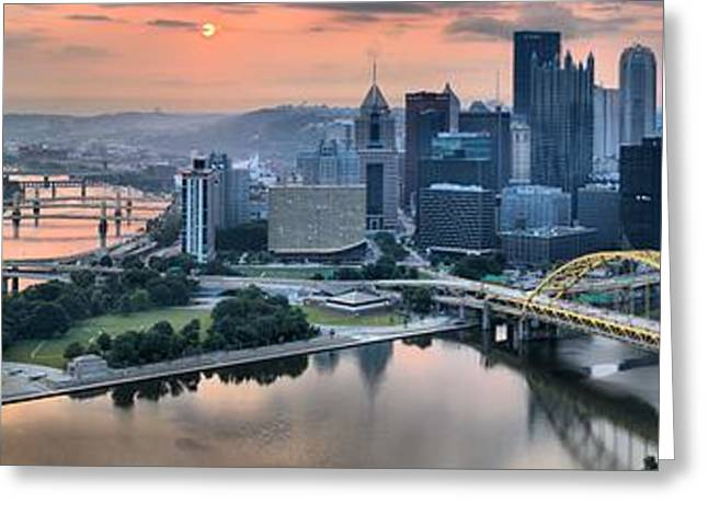 City Of Champions Greeting Cards - Pittsburgh Pink Skies And Fog Greeting Card by Adam Jewell