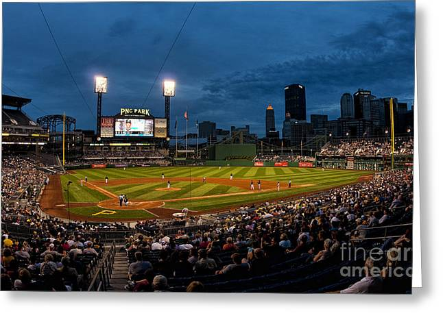 Pennsylvania Baseball Parks Greeting Cards - Pittsburgh Pirates Playing At Pnc Greeting Card by Bill Bachmann
