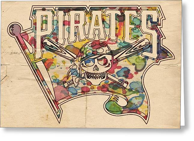 """pittsburgh Pirates"" Digital Greeting Cards - Pittsburgh Pirates Poster Art Greeting Card by Florian Rodarte"