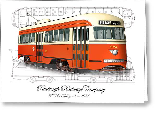 Pcc Greeting Cards - Pittsburgh Railways Company PCC Trolley Greeting Card by Carlos F Peterson