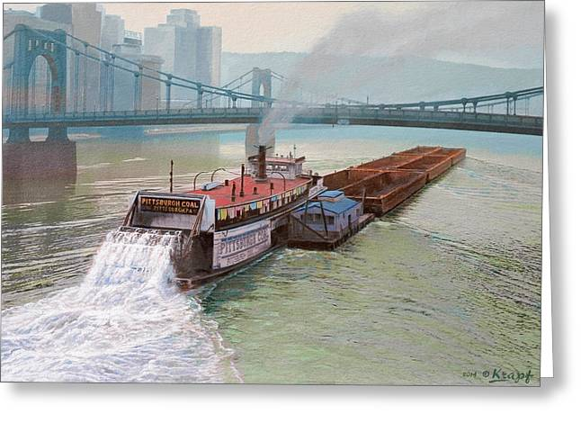 Allegheny River Greeting Cards - Pittsburgh River Boat-1948 Greeting Card by Paul Krapf