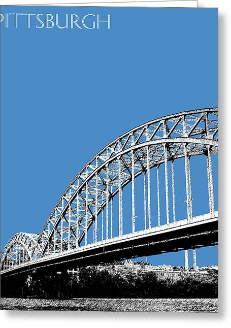 Architecture Digital Greeting Cards - Pittsburgh Skyline 16th St. Bridge - Slate Greeting Card by DB Artist