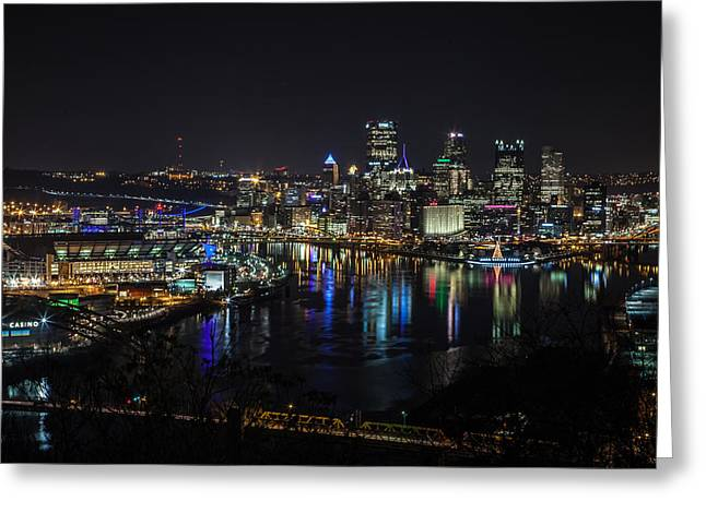 Pittsburgh Greeting Cards - Pittsburgh Skyline at Night Greeting Card by April Reppucci