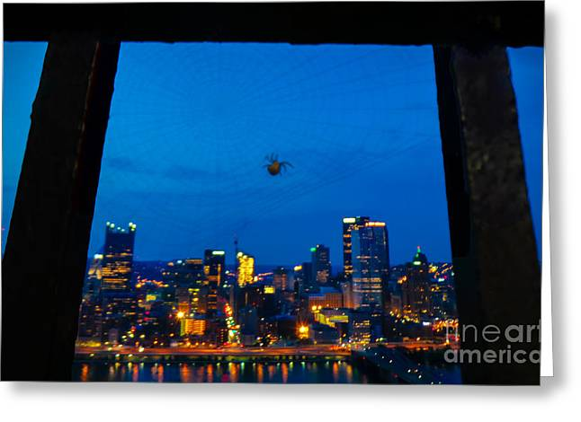 Urban Greeting Cards - Pittsburgh Skyline At Night Greeting Card by Charlie Cliques
