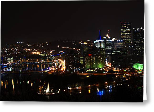 Skyscraper Pyrography Greeting Cards - Pittsburgh Skyline at night Greeting Card by Ilze Lucero