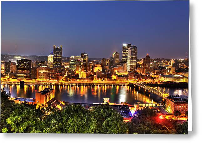 Confluence Greeting Cards - Pittsburgh Skyline at Night Greeting Card by Shawn Everhart