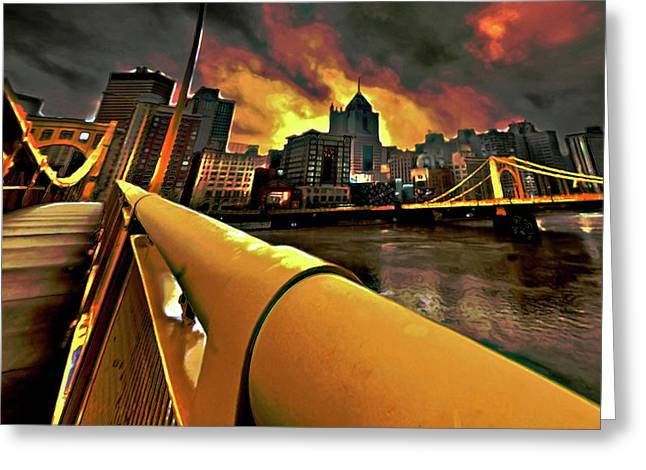 Dusk Greeting Cards - Pittsburgh Skyline Greeting Card by  Fli Art