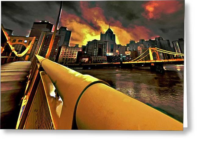 Pittsburgh Skyline Greeting Card by  Fli Art