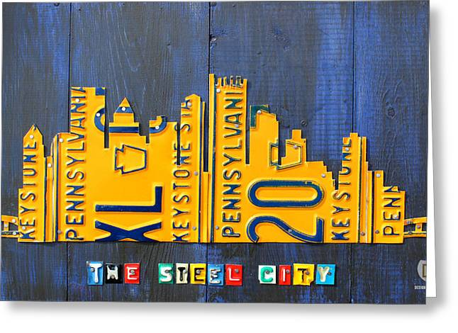 Vintage Map Mixed Media Greeting Cards - Pittsburgh Skyline License Plate Art Greeting Card by Design Turnpike