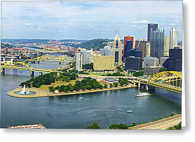 Downtown Pittsburgh Greeting Cards - Pittsburgh Skyline Greeting Card by Nomad Art And  Design