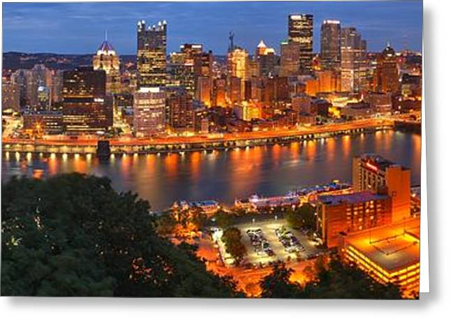 Downtown Pittsburgh Greeting Cards - Pittsburgh Skyline Panorama Greeting Card by Adam Jewell