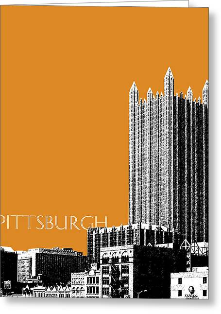 Pen Greeting Cards - Pittsburgh Skyline PPG Building - Dark Orange Greeting Card by DB Artist
