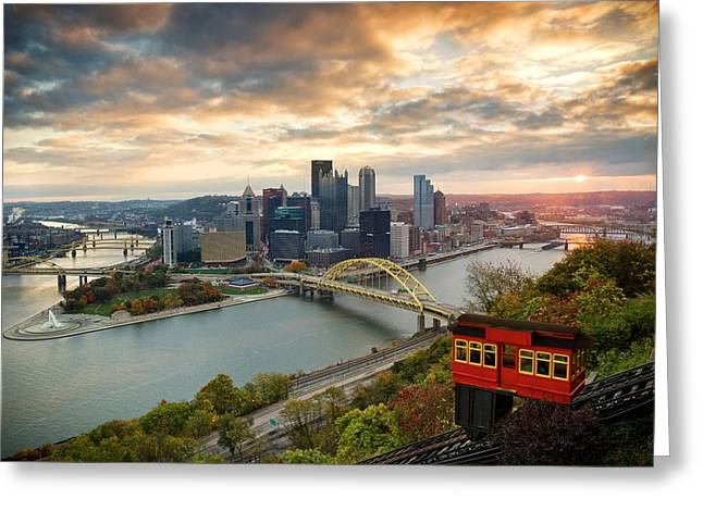 Allegheny Greeting Cards - Pittsburgh Skyline Sunrise  Greeting Card by Emmanuel Panagiotakis