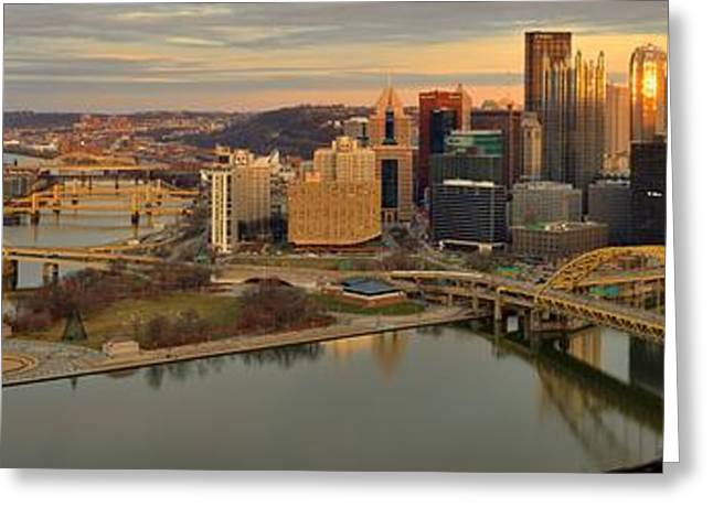 City Of Champions Greeting Cards - Pittsburgh Skyline Sunset Panorama Greeting Card by Adam Jewell