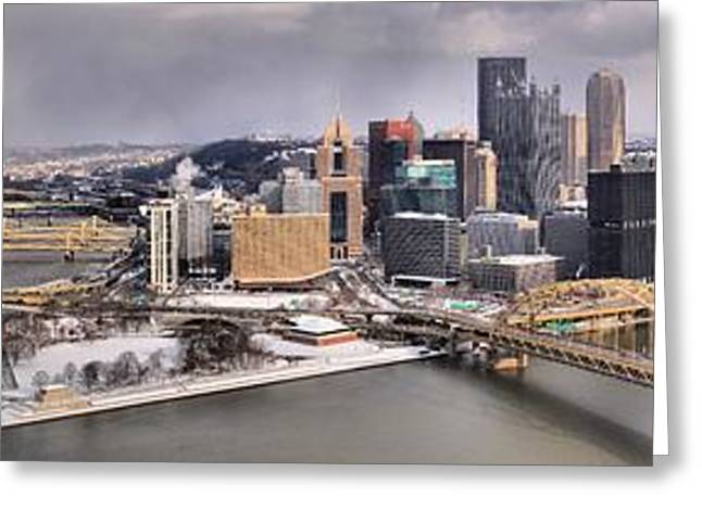 Downtown Pittsburgh Greeting Cards - Pittsburgh Snowy Panorama Greeting Card by Adam Jewell