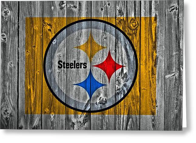 Nfl Mixed Media Greeting Cards - Pittsburgh Steelers Barn Door Greeting Card by Dan Sproul