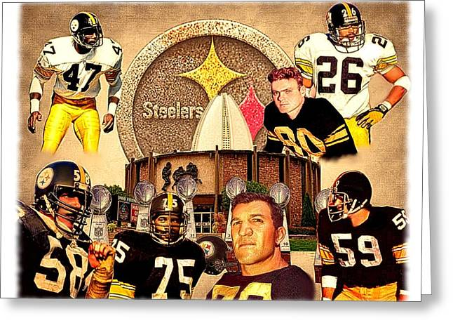 Steeler Nation Greeting Cards - Pittsburgh Steelers NFL Hall of Fame Defensive Legends Greeting Card by Charles Ott