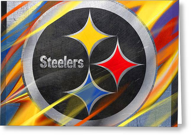 Phillies Mixed Media Greeting Cards - Pittsburgh Steelers Football Greeting Card by Tony Rubino