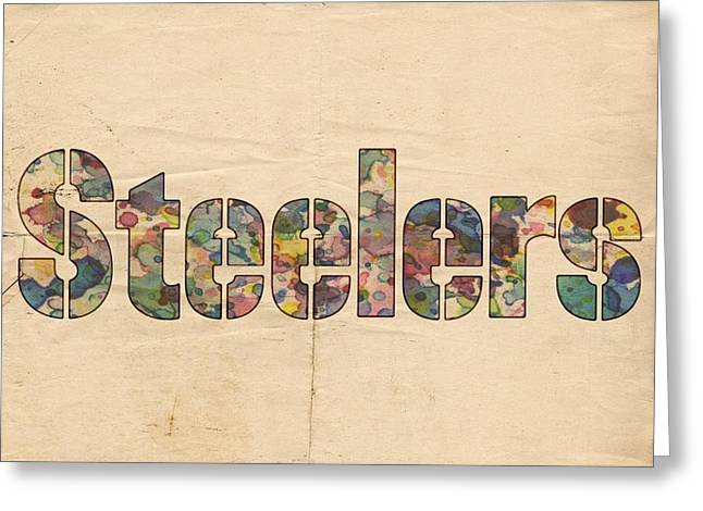 Sports Logo Greeting Cards - Pittsburgh Steelers Logo Vintage Greeting Card by Florian Rodarte
