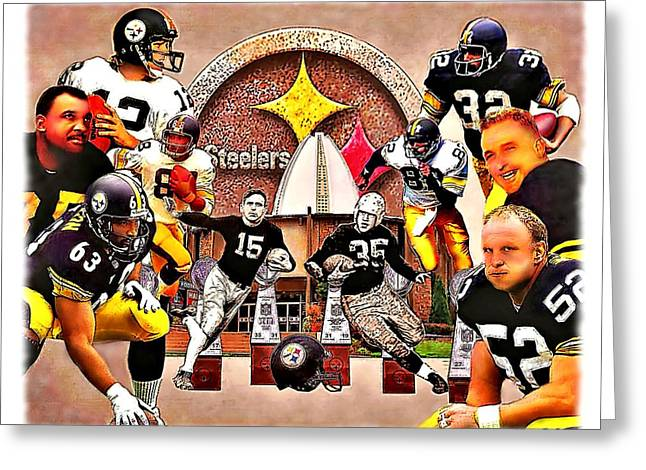 Steeler Nation Greeting Cards - Pittsburgh Steelers NFL Hall of Fame Offensive Legends Greeting Card by Charles Ott