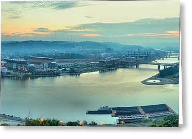 Pittsburgh Sunrise Panorama Greeting Card by Adam Jewell