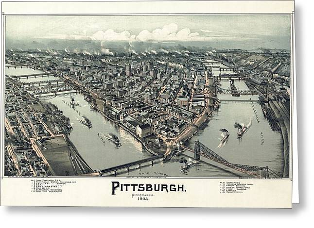 Pittsburgh Drawings Greeting Cards - Pittsburgh Greeting Card by Celestial Images