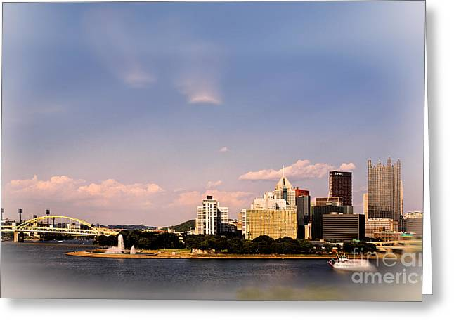 Pirates Greeting Cards - Pittsburghs Three Rivers Meet Greeting Card by Jan Tyler