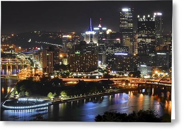 Pittsburgh Three Rivers Panorama Greeting Card by Frozen in Time Fine Art Photography