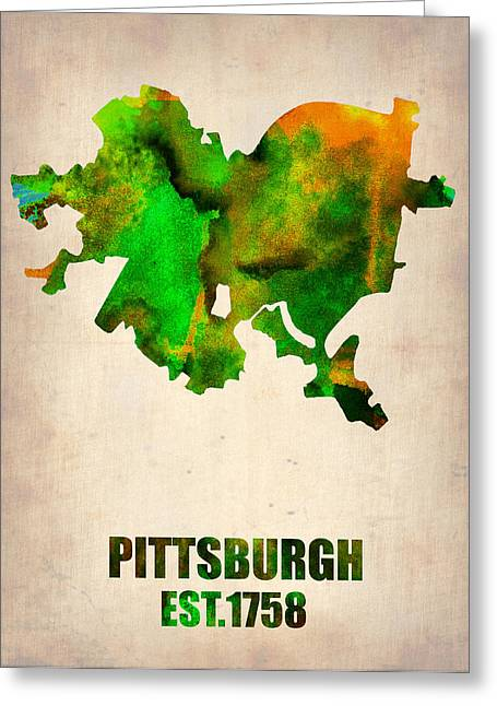 Pittsburgh Digital Greeting Cards - Pittsburgh Watercolor Map Greeting Card by Naxart Studio