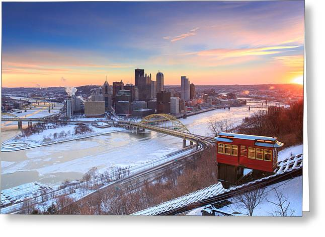 Allegheny River Greeting Cards - Pittsburgh Winter 2 Greeting Card by Emmanuel Panagiotakis