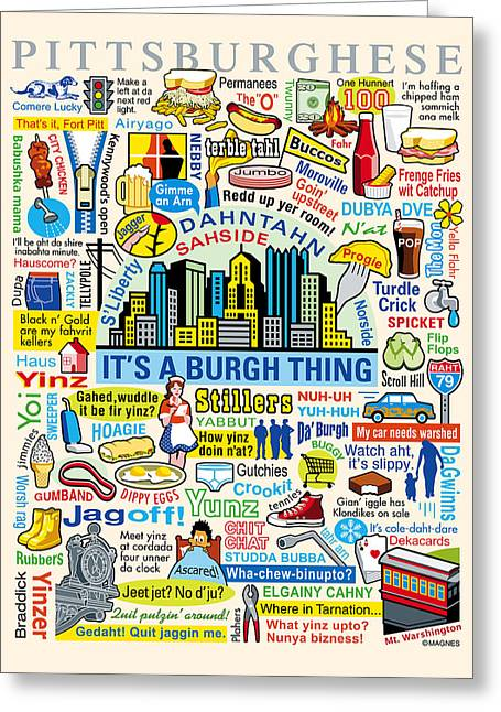 Arts Greeting Cards - Pittsburghese Greeting Card by Ron Magnes
