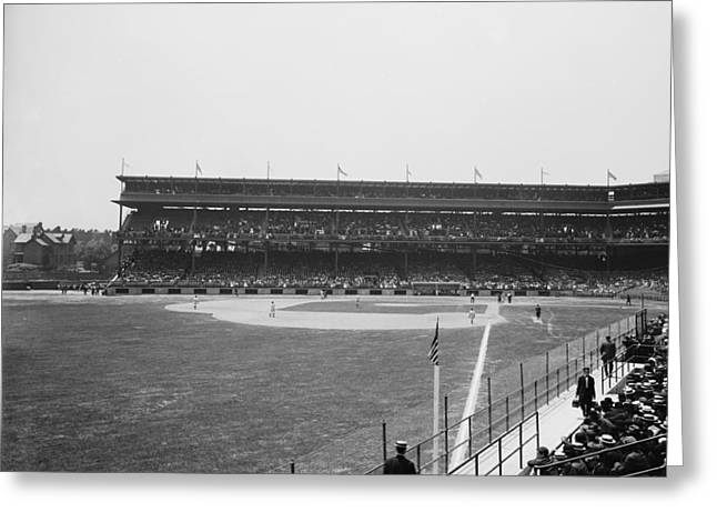 Baseball Game Greeting Cards - Pittsburghs Forbes Field 1910s Greeting Card by Mountain Dreams