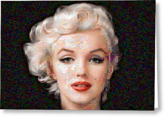 Famous Artist Mixed Media Greeting Cards - Pixelated Marilyn Greeting Card by Gina Dsgn