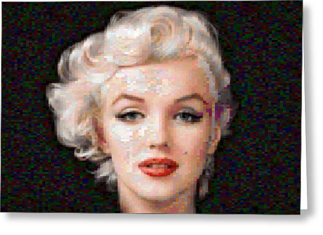 Famous ist Mixed Media Greeting Cards - Pixelated Marilyn Greeting Card by Gina Dsgn