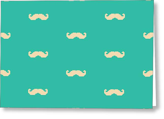 Mustache Greeting Cards - Pixel Mustache Pattern Greeting Card by Mike Taylor